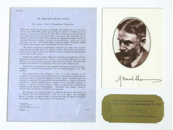 GEORGE BERNARD SHAW SIGNED CONTRACT 'CANDIDA'