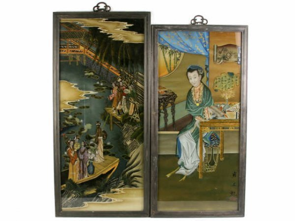 TWO ORIENTAL REVERSE PAINTED WINDOW PANES