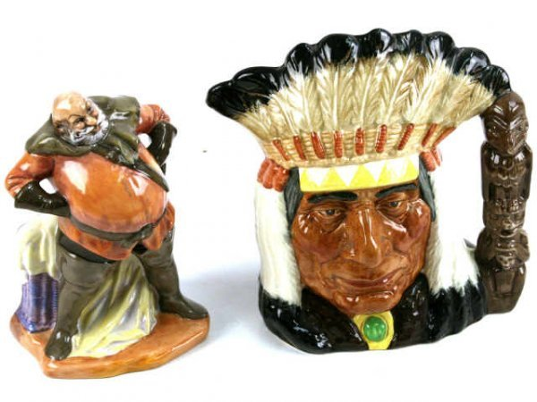 ROYAL DOULTON FALSTAFF & NATIVE AMERICAN FIGURINES