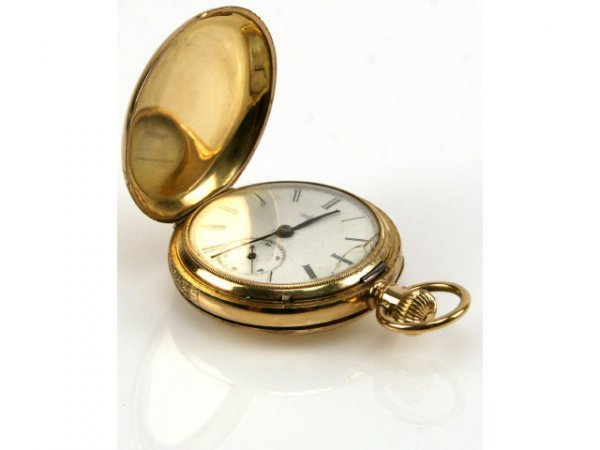MENS ELGIN POCKET WATCH 14K GOLD # 12 SIZE