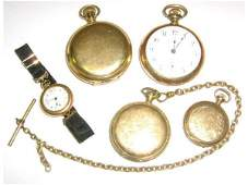 LOT OF FIVE GOLD FILLED POCKET WATCHES