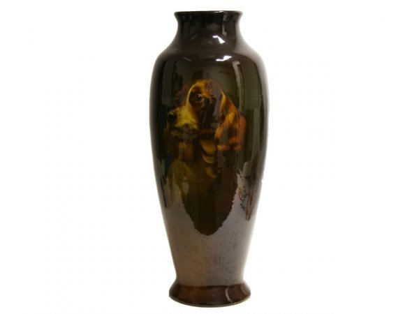 WELLER VASE MAE TIMBERLAKE DOG HUNTER ARMS 19""