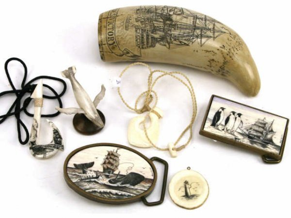 SCHOONER THEME BONE OR TOOTH CARVINGS SCRIMSHAW