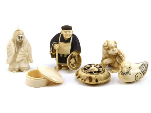 ANTIQUE JAPANESE IVORY SIGNED NETSUKE & BOX LOT
