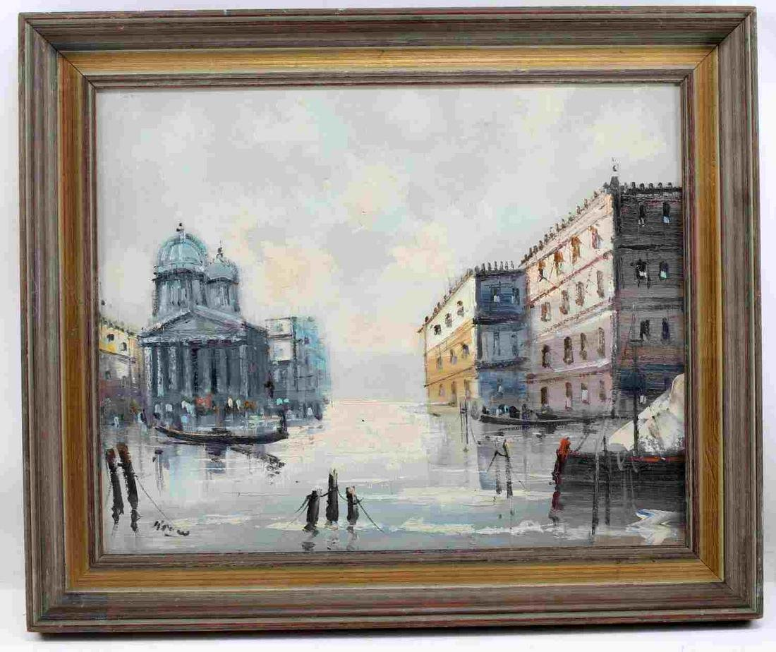 SIGNED OIL ON CANVAS OF VENICE WATERSCAPE