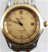 MENS OMEGA SEAMASTER STAINLESS STEEL & GOLD WATCH