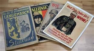 WWII GERMAN THIRD REICH PROPAGANDA POSTER LOT OF 4