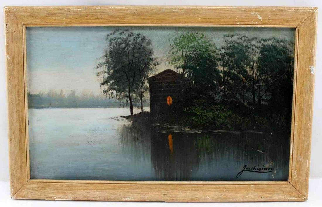 OIL ON CANVAS OF WATERFRONT LANDSCAPE & BUILDING