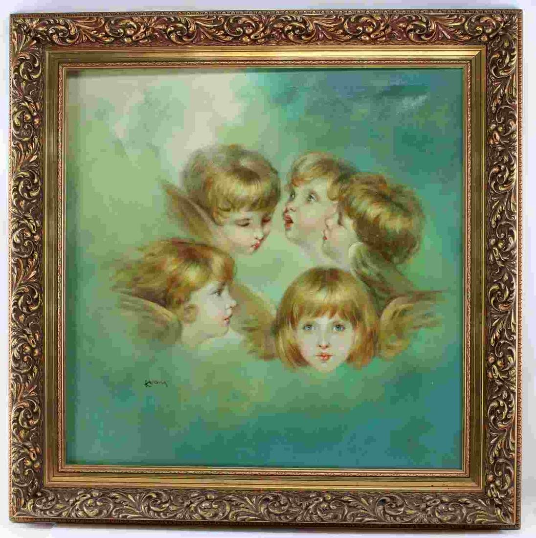 FRAMED OIL ON CANVAS OF CHERUBS IN SKY