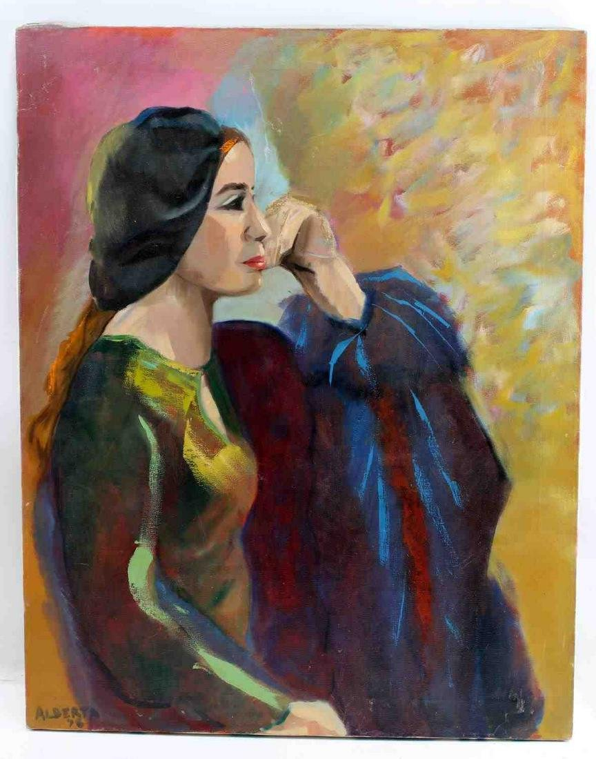 SIGNED OIL ON CANVAS PORTRAIT OF SEATED WOMAN