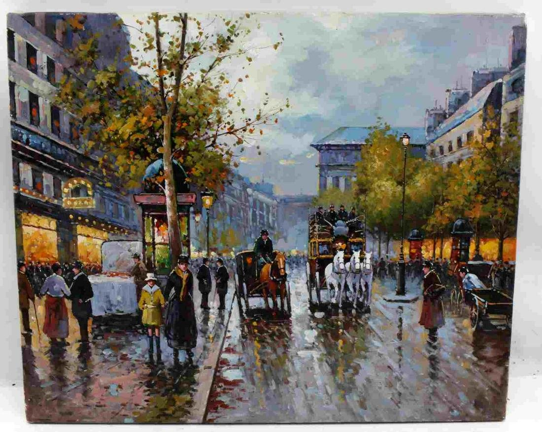 OIL ON CANVAS IMPRESSIONISTIC FRENCH CITYSCAPE