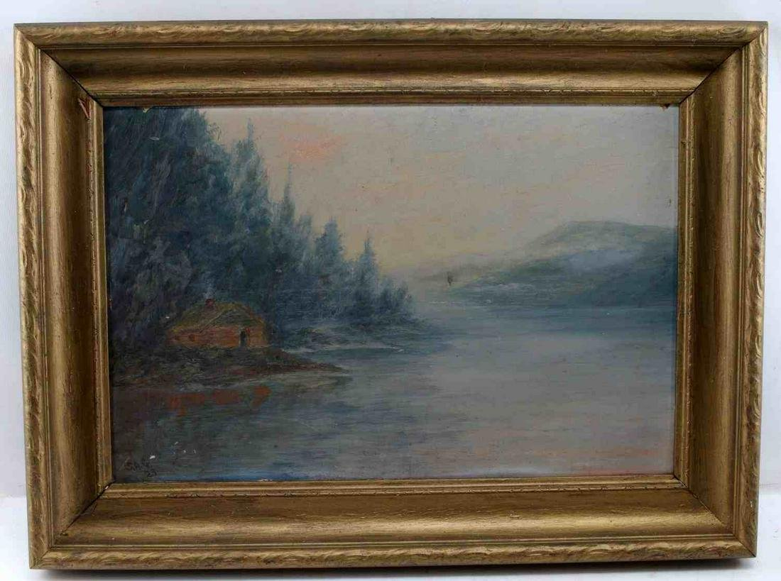 OIL ON BOARD FRAMED SIGNED WATERSCAPE PAINTING