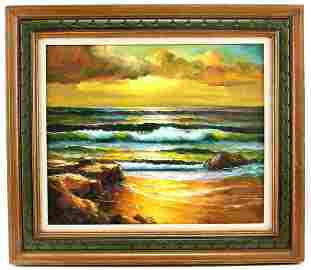 FRAMED OIL ON CANVAS COLORFUL SEASCAPE PAINTING