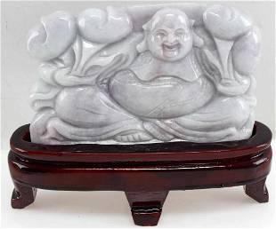 LAVENDER JADE POLISHED CARVING OF BUDDHA