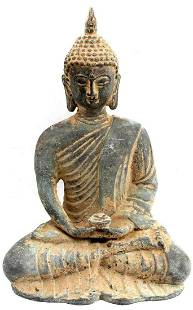 METAL SCULPTURE OF SEATED BUDDHA