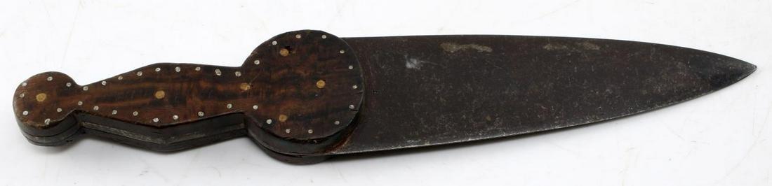NATIVE AMERICAN WOOD HANDLED DAGGER KNIFE