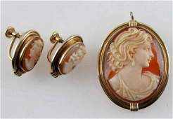 ANTIQUE VAN DELL CAMEO EARRINGS AND BROOCH