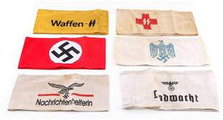 WWII GERMAN THIRD REICH SS ARM BAND LOT OF SIX