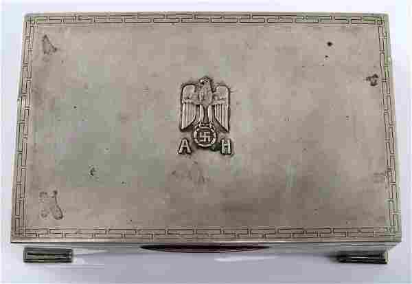 WWII GERMAN ADOLF HITLER SILVER CIGARETTE BOX
