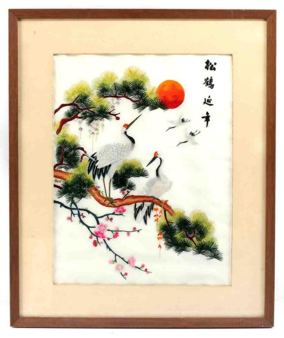 VINTAGE ASIAN SILK EMBRIODERY WALL HANGING