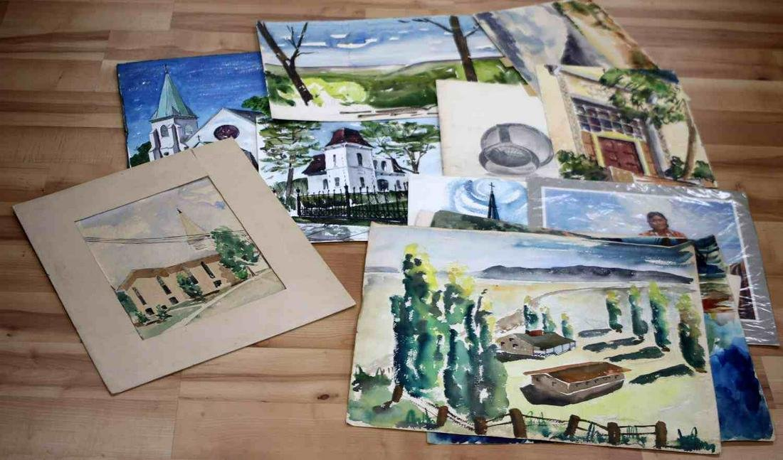 LOT VINTAGE MISCELLANEOUS WATERCOLOR PAINTINGS