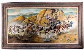 OIL ON CANVAS NATIVE AMERICAN WESTERN ART PAINTING