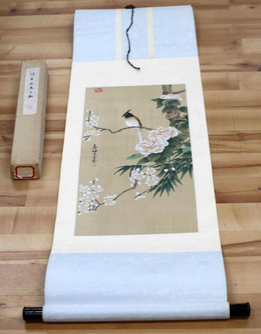 BIRD IN TREE JAPANESE PAINTING ON SILK SCROLL