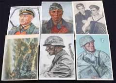 6 WWII GERMAN POSTCARDS WILLRICH ROMMEL GUDERIAN