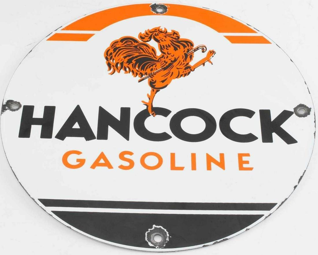VINTAGE HANCOCK GASOLINE GAS PUMP PORCELAIN SIGN