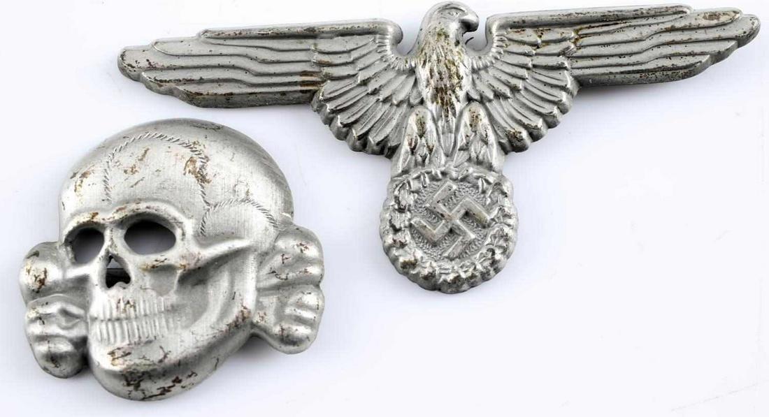 GERMAN WWII SS OFFICER VISOR CAP EAGLE & SKULL