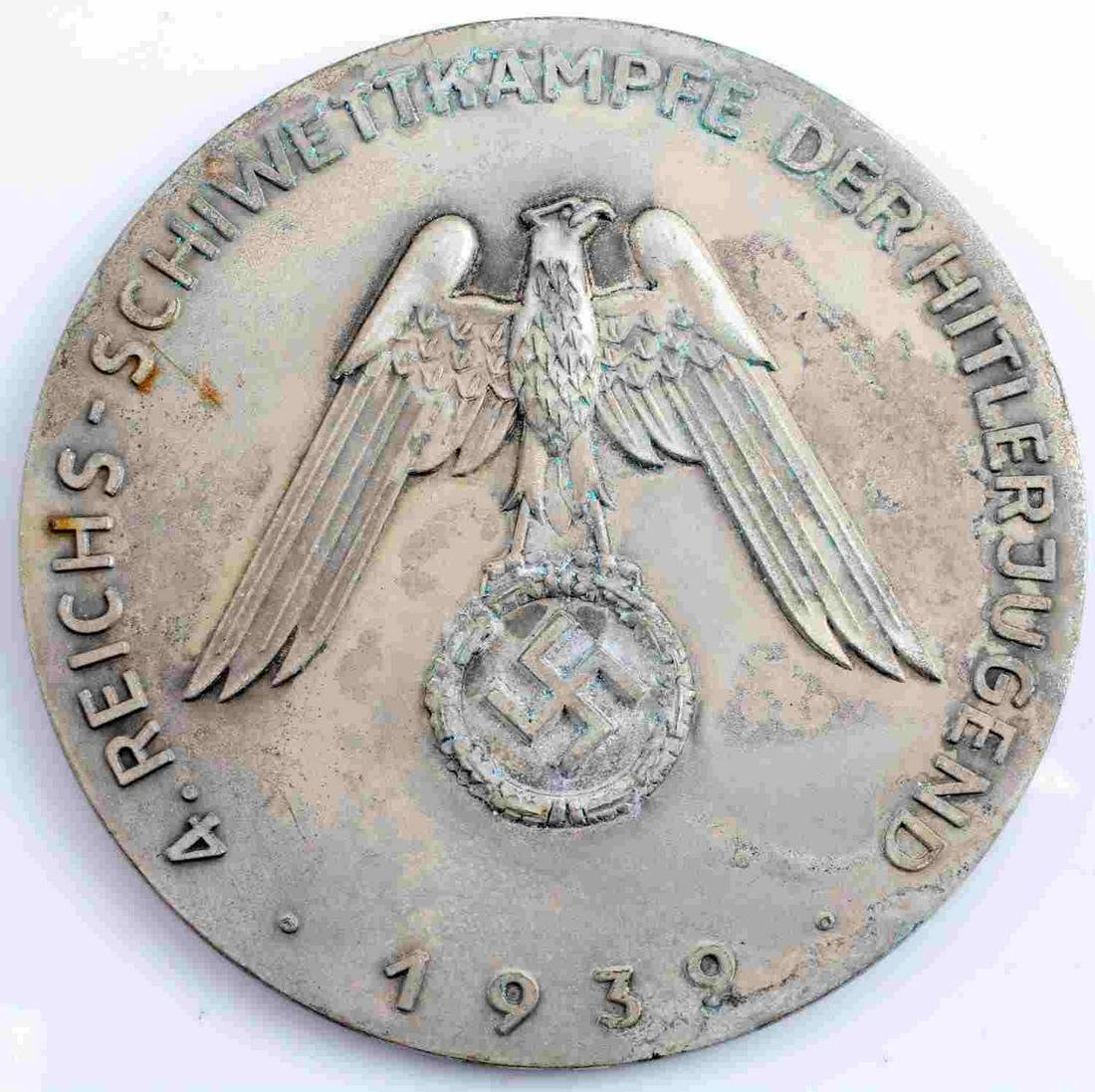WWII GERMAN 1939 HITLER YOUTH EAGLE TABLE MEDAL