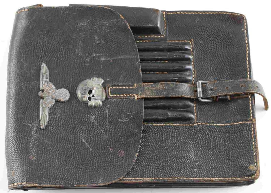 WWII GERMAN WAFFEN SS FIELD LEATHER MAP CASE