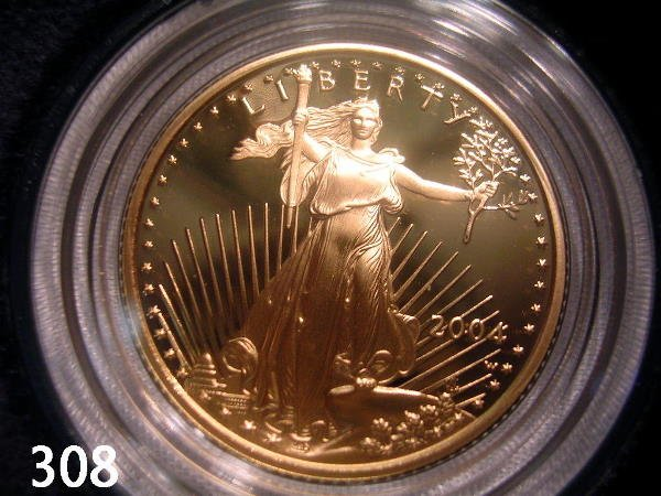 30308: US AMERICAN GOLD EAGLE 2004 1/4 OZ PROOF IN BOX