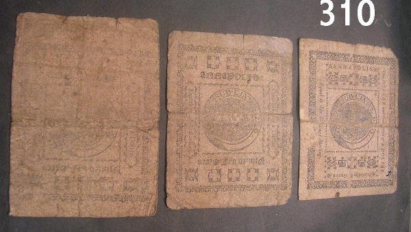 30310: US COLONIAL CURRENCY LOT OF 3: 1776 MARYLAND