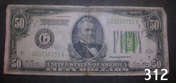 30312: US $50 FEDERAL RESERVE NOTE 1928A CHICAGO  VG