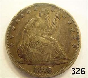 1876 SEATED LIBERTY HALF DOLLAR XF