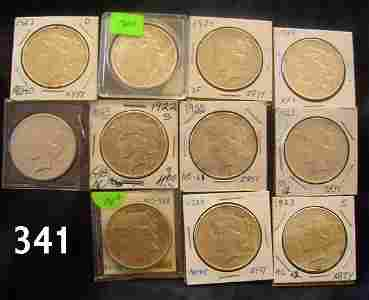 30341: PEACE DOLLAR LOT OF 11 WITH KEY DATES XF ALL