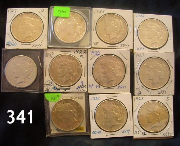 PEACE DOLLAR LOT OF 11 WITH KEY DATES XF ALL