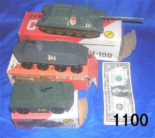 RUSSIAN TOY TANK LOT OF 3 MILITARY CY100 6TP IN