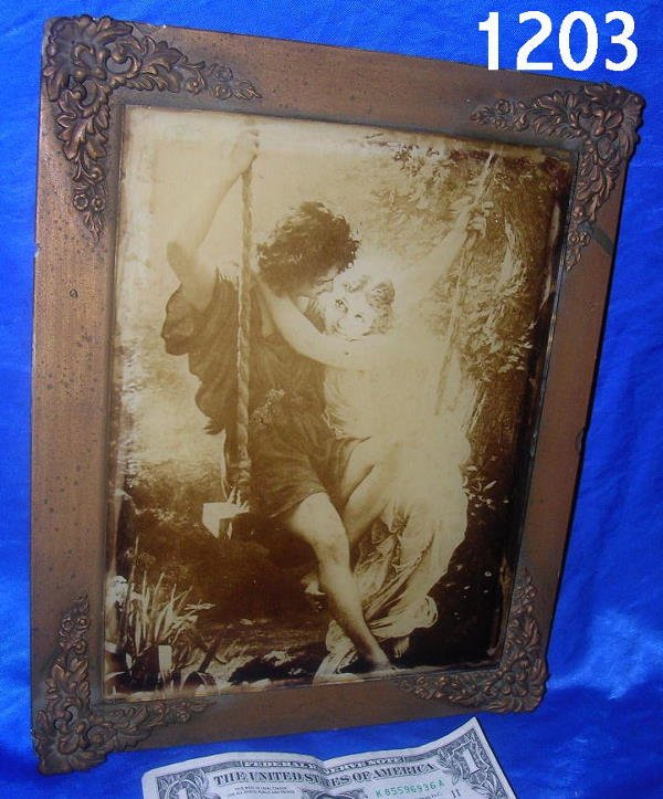 301203: ANTIQUE FRAMED  ROCOCO PRINT OF COUPLE ON SWING