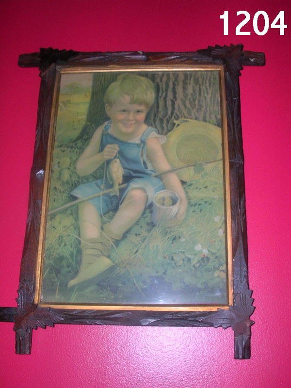 301204: VICTORIAN FRAMED PRINT OF BOY W FISH 10X14