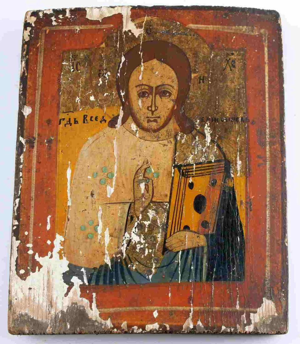 LATE 19TH C EARLY 20TH RUSSIAN WOOD ICON OF CHRIST