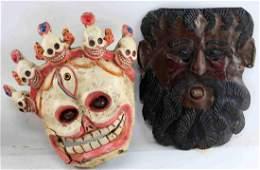 TWO VINTAGE MASKS MEXICAN DANCE  TIBETAN DEMON