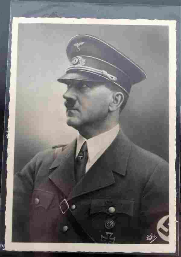 WWII GERMAN 3RD REICH ADOLF HITLER SIGNED POSTCARD