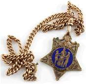 GRAND ARMY OF THE REPUBLIC GAR GOLD FOB AND CHAIN