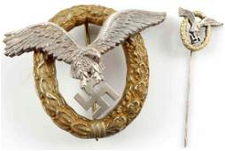 LARGE GERMAN PILOT OBSERVER BADGE & STICK PIN SET