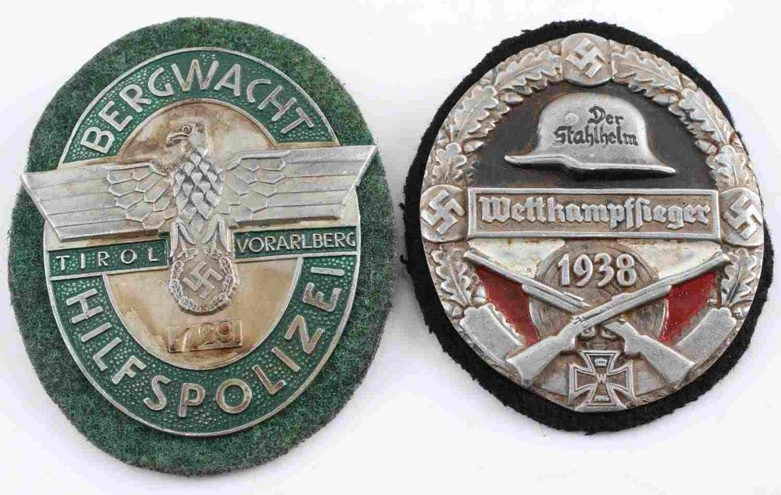 WWII GERMAN THIRD REICH SS SHIELD BADGES LOT OF 2