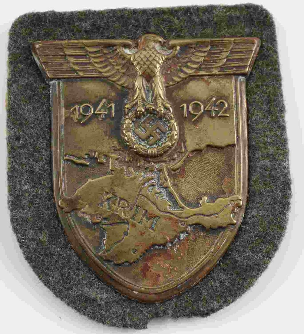 WWII GERMAN THIRD REICH KRIM SHIELD BADGE W FELT