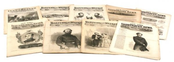HARPERS WEEKLY NY ILLUSTRATED LOT OF 9 CIVIL WAR