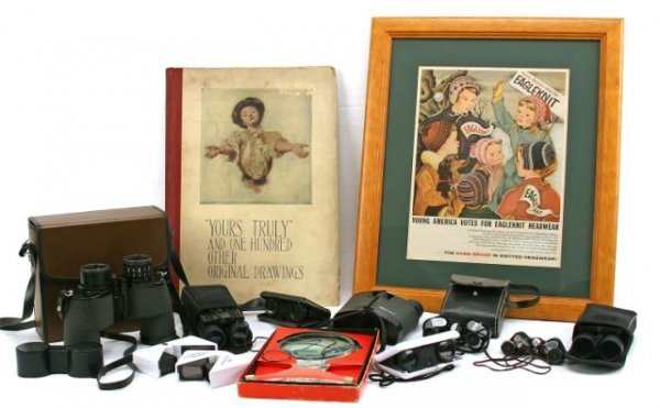 LOT OF HISTORIC BOOKS AND BINOCULARS